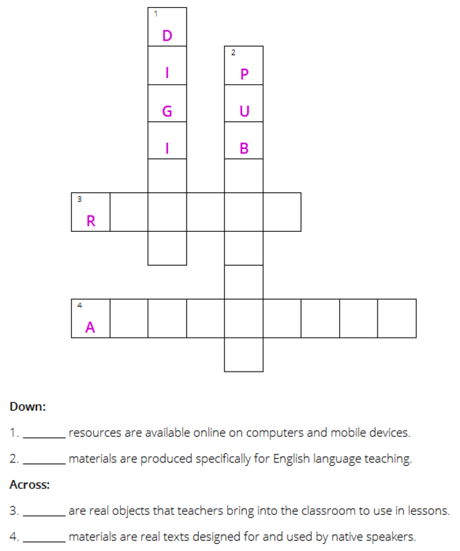 A diagram of a crossword with clues