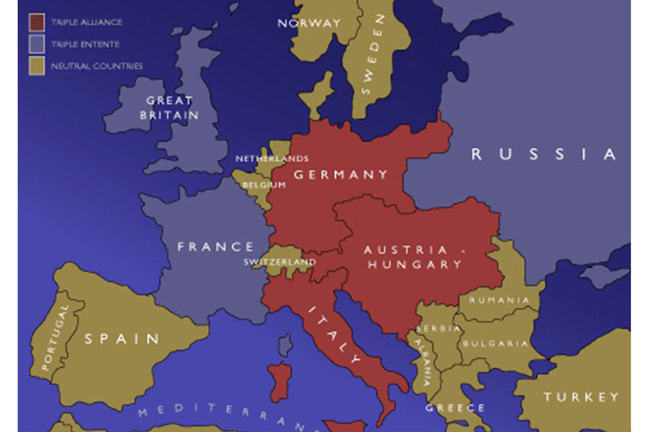 Map of the European alliances in 1914. The Great Britain, France and Russia alliance are coloured blue. The Germany, Austria-Hungary and Italy entente are coloured red. The other neutral countries in Europe are coloured brown