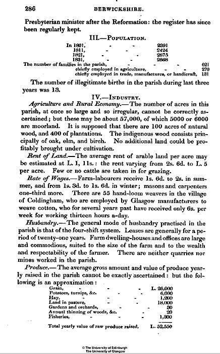 Statistical account of Scotland: Coldingham parish