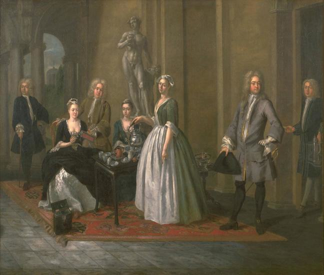 A painting of a group of men and woman taking tea
