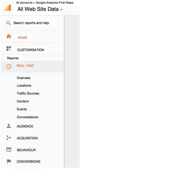 The Google Analytics Data Display Main Menu