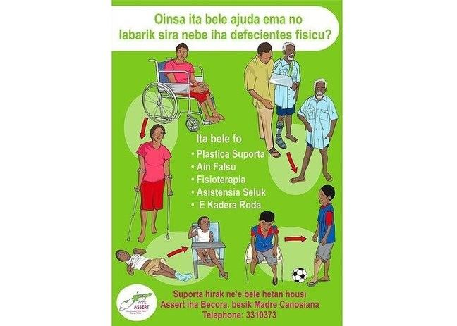 A poster from the rehabilitation centre in Tanzania, illustrating their work.