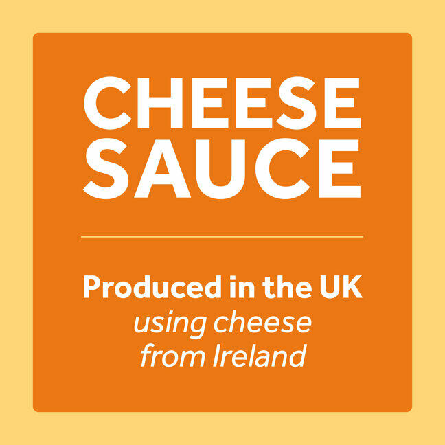 cheese label saying 'Cheese sauce produced in the UK using cheese from Ireland