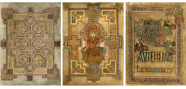 Figures 1-3, from the Book of Kells, a page depicting a cross pattern, an image of St. John surrounded by crosses, and the letter M shaped in the form of a double cross, respectively