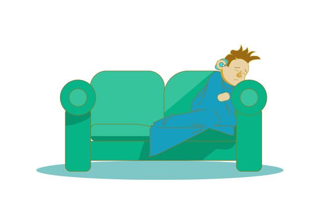 An illustration of a boy curled up under a blanket on the sofa. He looks ill and upset.
