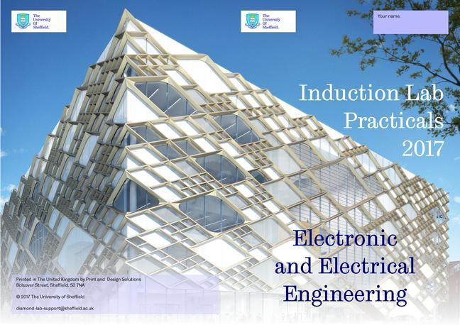 The cover of a lab book from the University of Sheffield's Department of Electronics and Electrical Engineering.