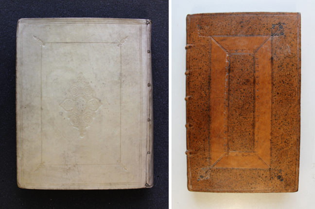 Two blind-tooled bindings from the Netherlands and England: on the left is the back cover of Jacob de Wilde, *Gemmae selectae antiquae e museo Jacobi de Wilde* (Amsterdam, 1703) and to the right is the front cover of Isaac Newton, *Arithmetica universalis* (Cambridge, 1707). © The Trustees of the Edward Worth Library, Dublin.