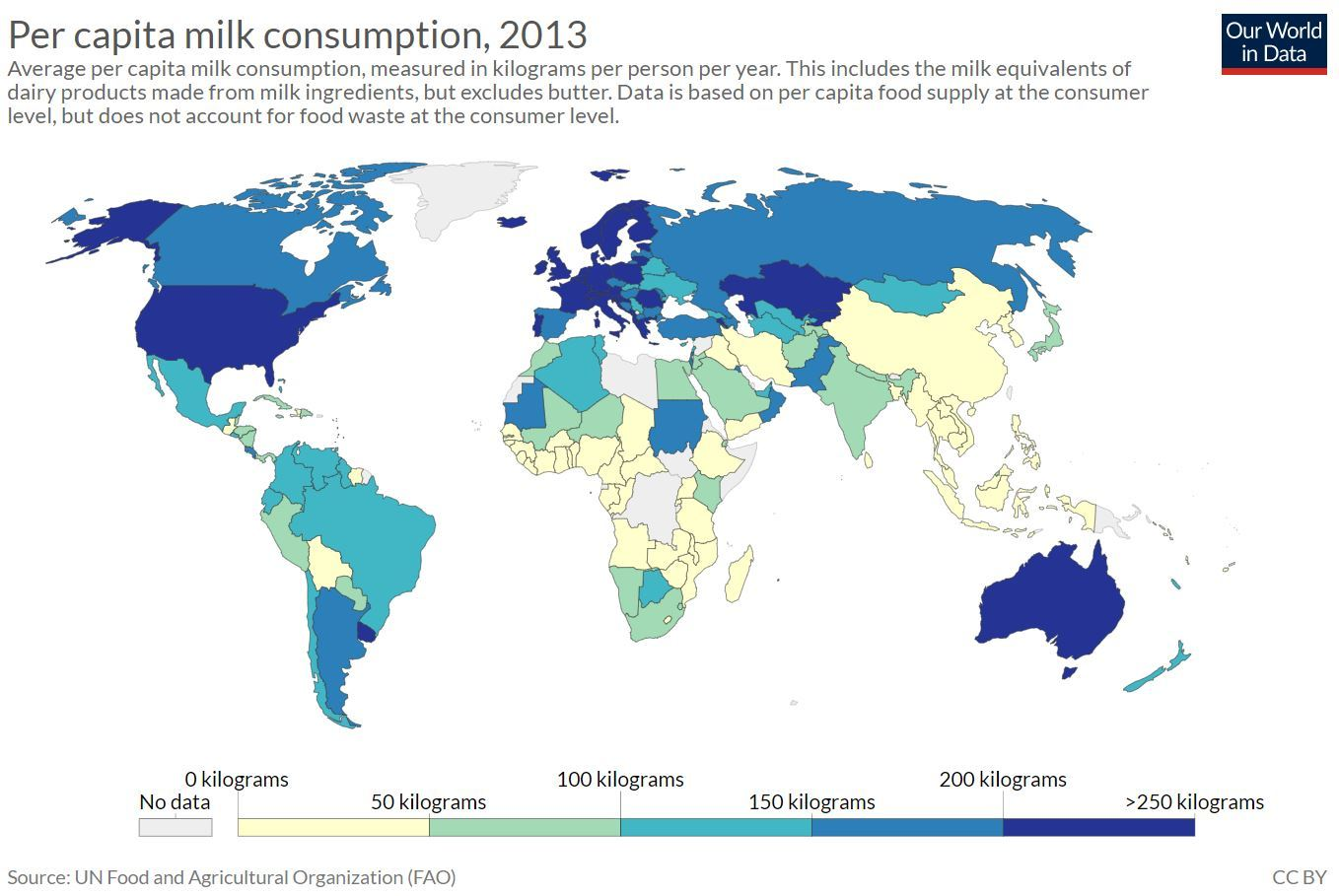 Map of the world showing consumption levels of milk. Highest consumption levels are found in USA, Europe and Australia. Lowest levels are found in equatorial Africa, China and the Far East.