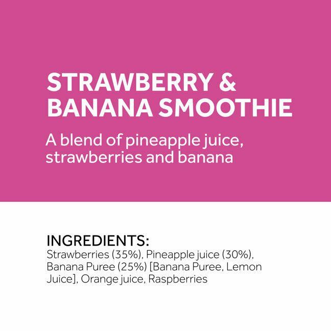 section from a strawberry and banana smoothie label displaying ingredients list which contains percentages of strawberries, pineapple juice and banana puree