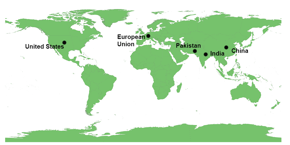 World map showing location of India, European Union, China, Pakistan and the United States of America.