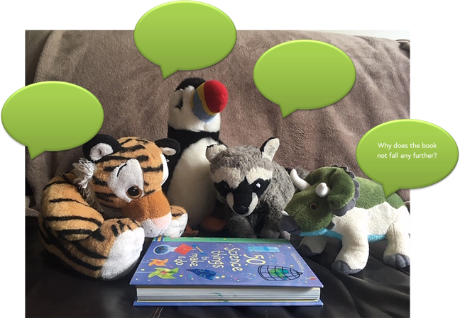 Concept cartoon: a photo of four soft toys gathered around a book on a sofa. One character says 'Why does the book not fall any further?' the rest of the characters have empty speech bubbles