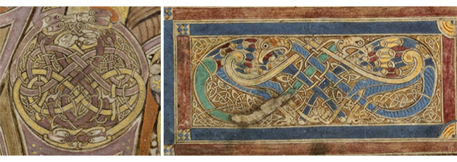 Figures 5 - 6, from the Book of Kells, an image of snakes forming the letter 'I', and an image of entangled peacocks, respectively