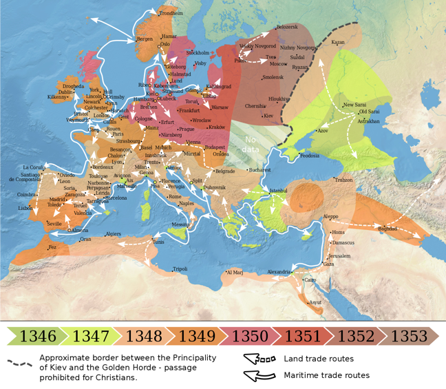 Map showing the spread of the Black Death in Europe each year between 1346 and 1353 and the land and maritime trade routes between the countries.