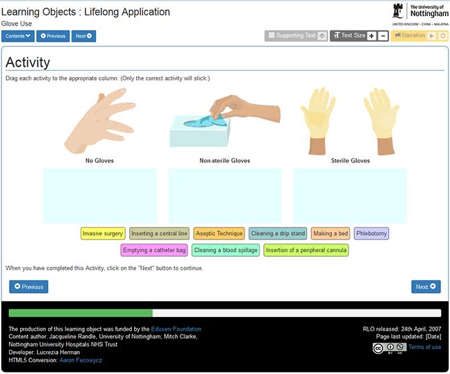 Screen shot of RLO activity