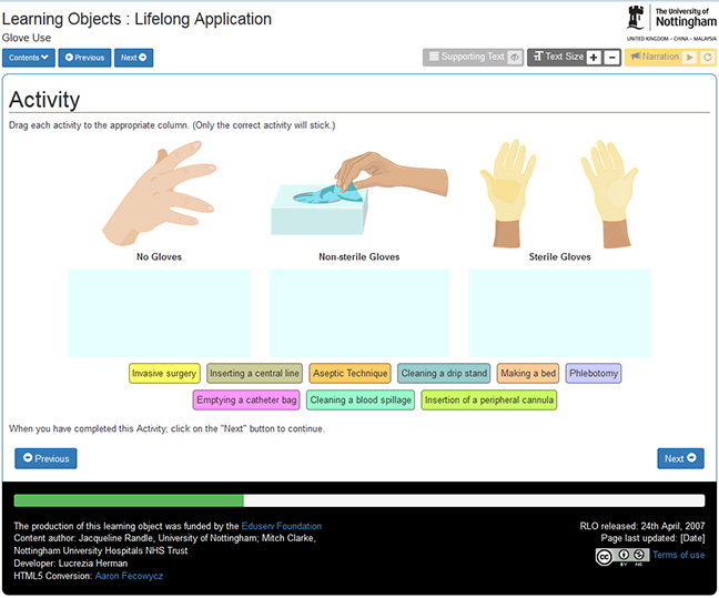 Screen shot of RLO activity