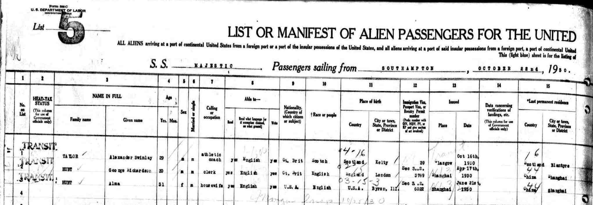 passenger manifest document detail left side