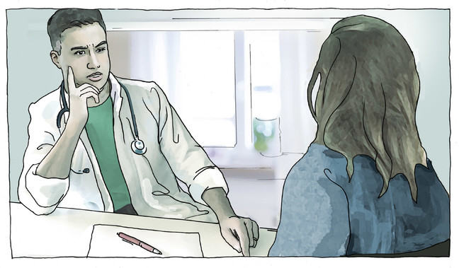 "Image showing fictional ""Dr Marc"" is asking Zara questions."