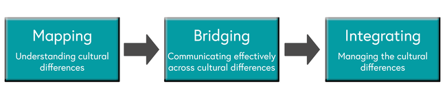 Flow diagram: Mapping: understanding cultural differences, Bridging: Communicating effectively across cultural differences, Integrating: Managing the cultural differences