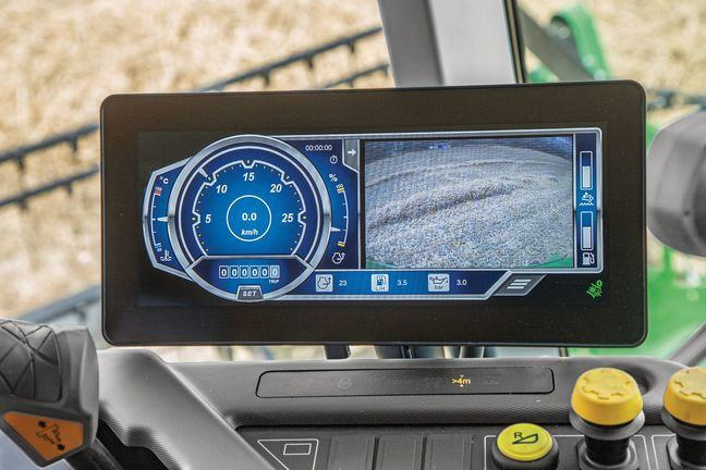 A display screen in a combine harvester