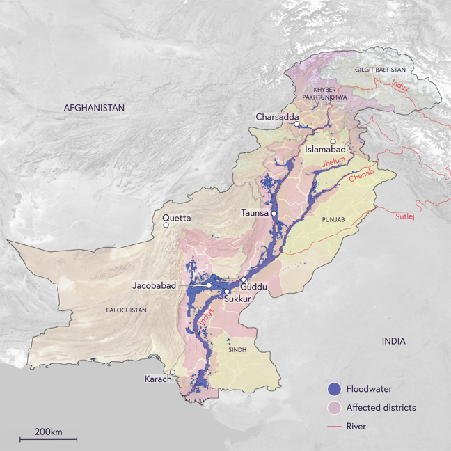 Map of Pakistan showing locations of major rivers and conurbations, and indicating the wide spread of flood water across a large part of the country, encompassing all of the country's principalities.