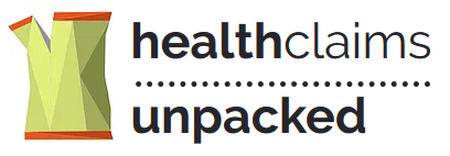 Health claims unpacked logo - a yellow and orange graphic of a split paper bag?