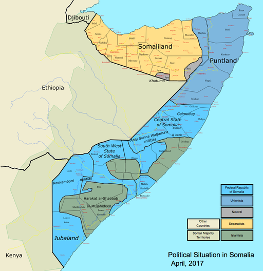 Map: Map: Somalia map states regions districts