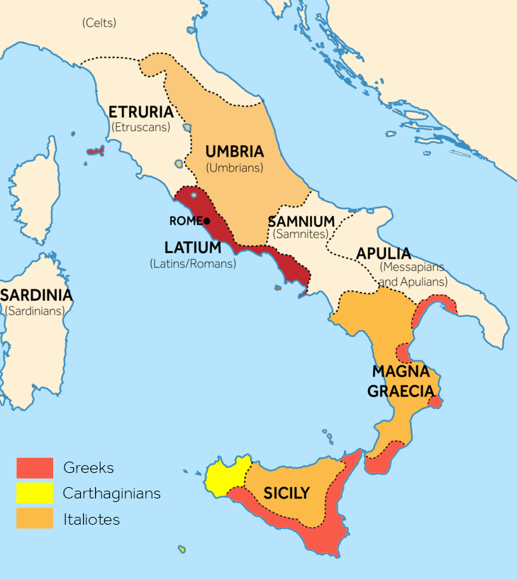 A map showing demographic of the ancient tribes of Italy