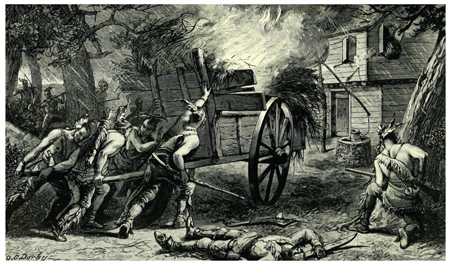 Engraving showing the assault on Ayres garrison