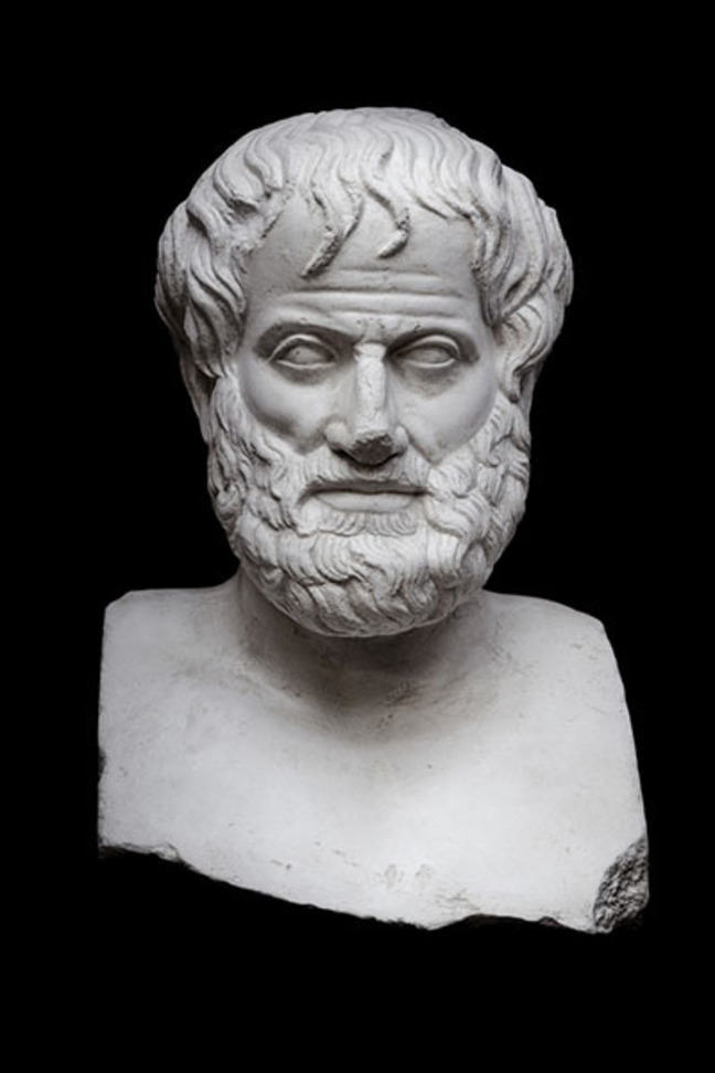 A marble bust of Aristotle on a black background.