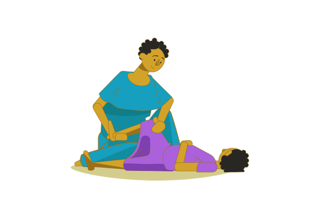 An illustration of a mother supporting her daughter in a physio session. The girl is on her back and her mother is stretching her leg
