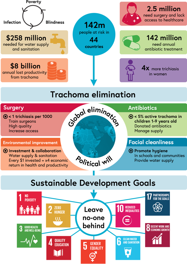 Infographic relating the SDGs to trachoma elimination, described in detail below