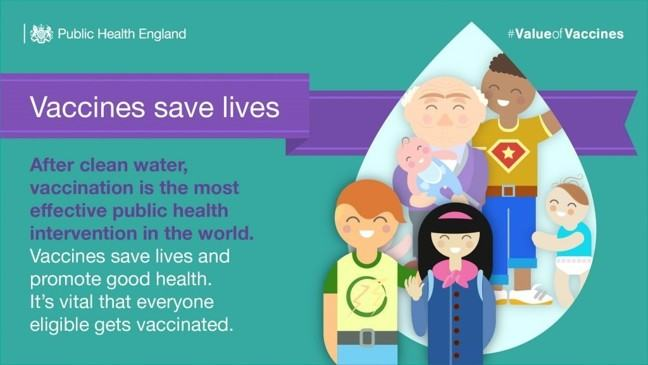 "Image with cartoon people and text saying ""Vaccines save lives. After clean water, vaccination is the most effective public health intervention in the world. Vaccines save lives and promote good health, it's vital that everyone eligible gets vaccinated."