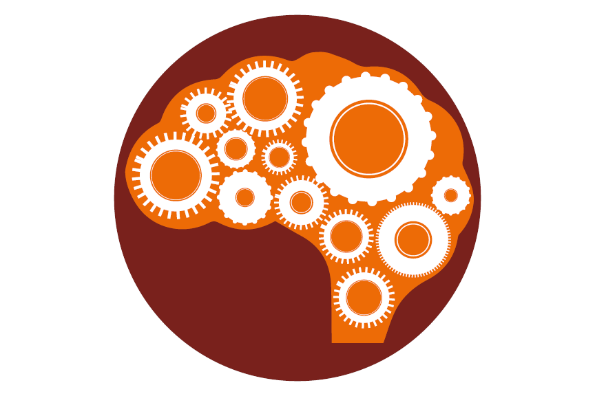 Illustration of a brain and cogs