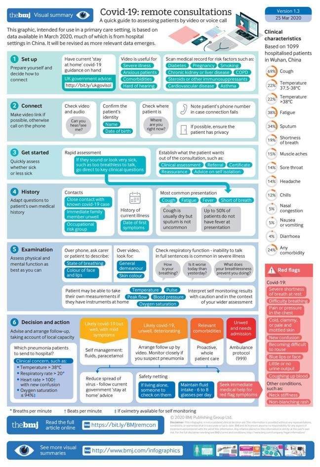 An infographic showing the details of set up, connecting, getting started, getting a history and carrying an examination and decision and actions for the consultation when doing a consultation remotely