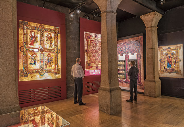 A modern image of The Book of Kells exhibition at Trinity College.