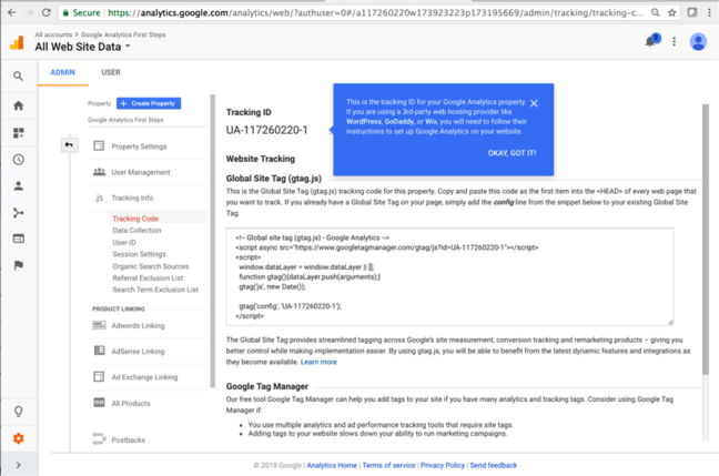The Tracking ID page generated by Google Analytics