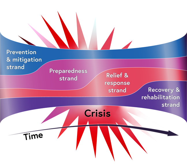 The disaster management cycle seen as a timeline showing how the four phases are not separate but overlap.