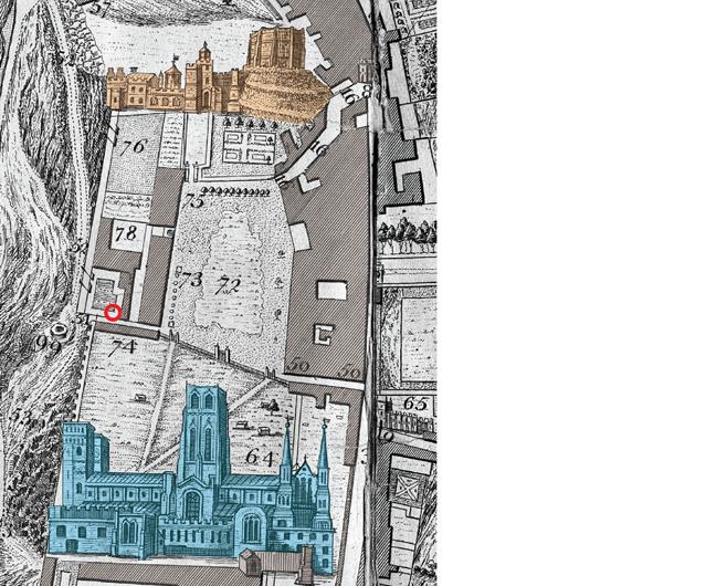 Extract from Thomas Forster's 1754 map of Durham, showing: the castle at the top, cathedral at the bottom, the zigzag block of stable buildings and the garden beside the burial site