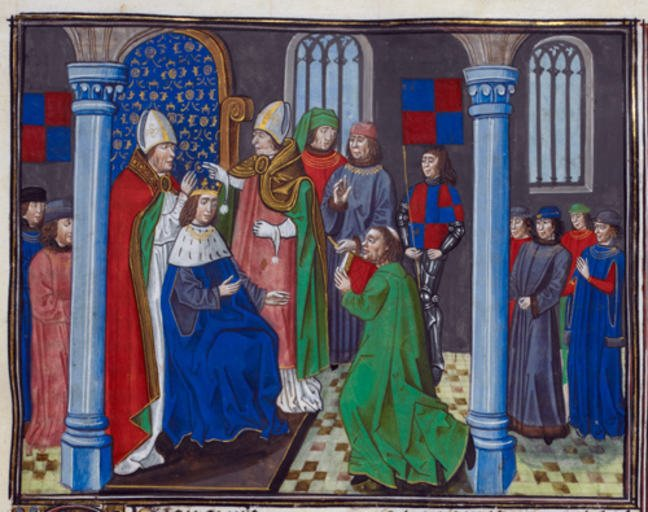 Coronation of Henry IV © British Library Board. From Chroniques by Jehan Froissart, c.1483. Made available under Creative Commons CC0 1.0 Universal Public Domain Dedication