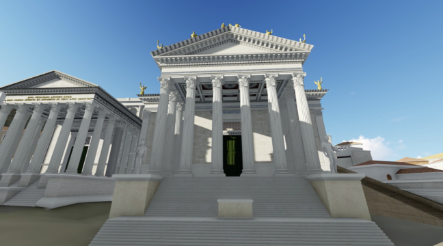 A digital recreation of a white temple