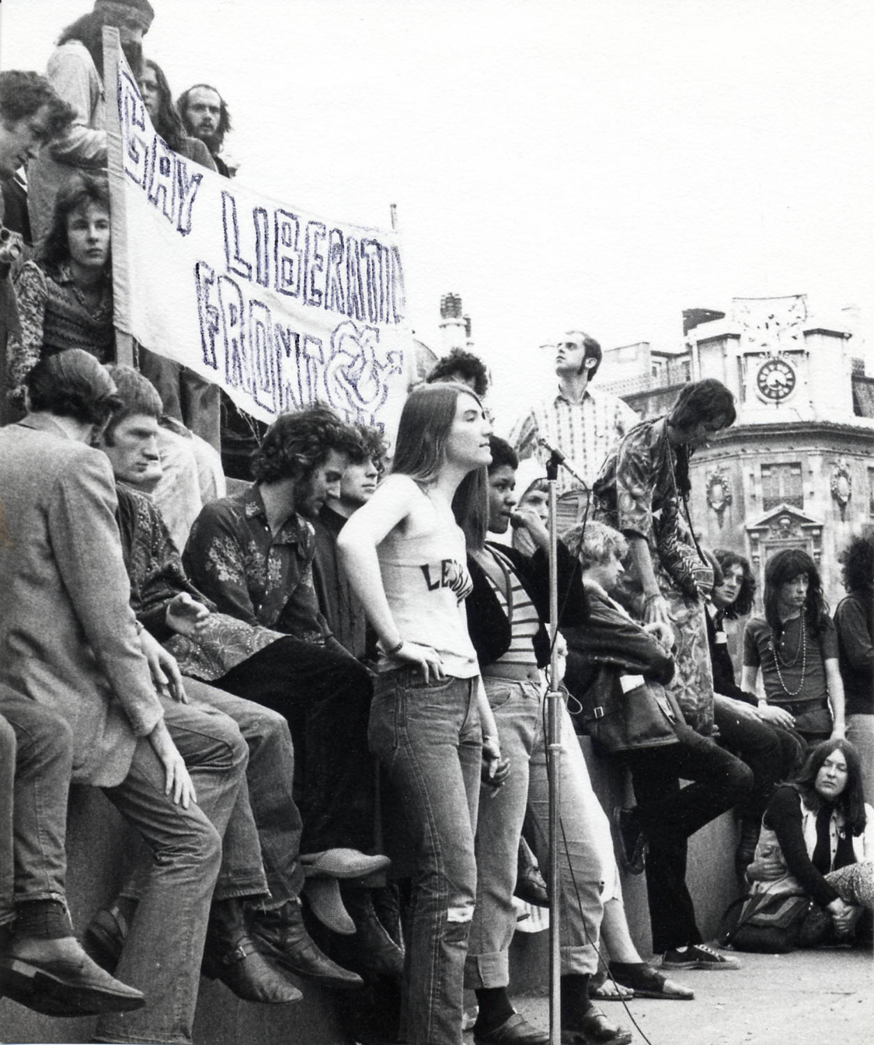 Black and white photo of the Gay Liberation Front
