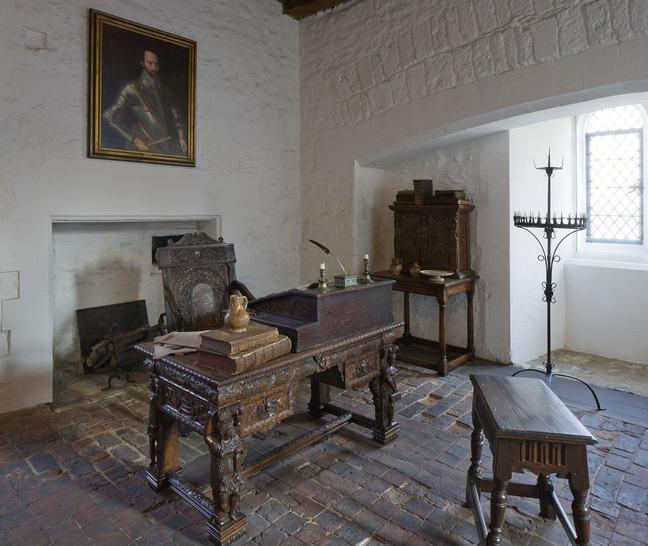 A photograph of Sir Walter Ralegh's desk