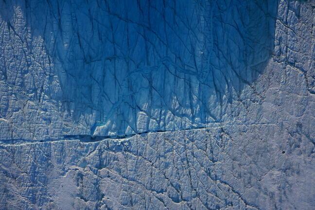 Aerial image of supraglacial lake