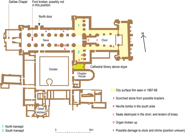 Plan of Durham Cathedral showing traces and marks left behind by the prisoners