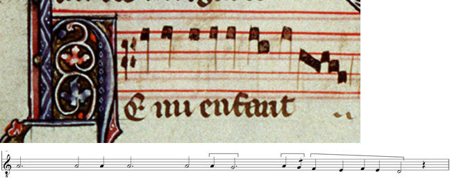 Tenor and transcription of the motet S'on me Regarde