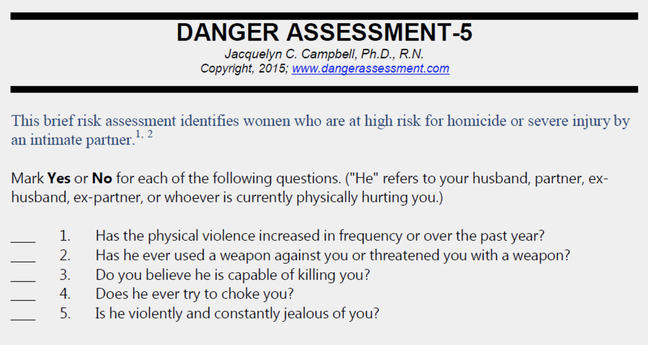 "Danger Assessment Tool: This brief risk assessment identifies women who are at high risk for homicide or severe injury by an intimate partner. Mark ""Yes"" or ""No"" for each of the following questions. (""He"" refers to your husband, partner, exhusband, ex-partner, or whoever is currently physically hurting you.) 1. Has the physical violence increased in frequency or over the past year? 2. Has he ever used a weapon against you or threatened you with a weapon? 3. Do you believe he is capable of killing you? 4. Does he ever try to choke you? 5. Is he violently and constantly jealous of you?"