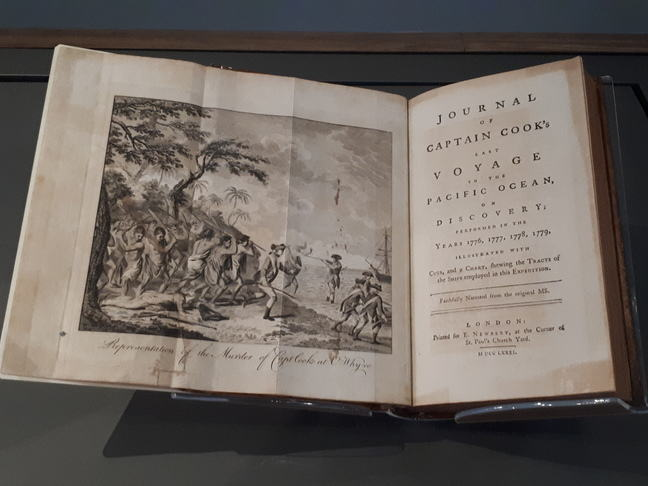Front page of book with illustration on left showing Representation of the murder of Capt Cook at Owhyee, and on right the title, Journal of Captain Cook's last voyage to the Pacific Ocean, on Discovery, performed in the years 1776-1779.