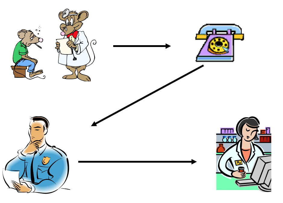 A diagram explaining the followed protocol: physician sees patient, physician phones microbiologist to discuss case, pharmacy contacted, drug approved for patient.