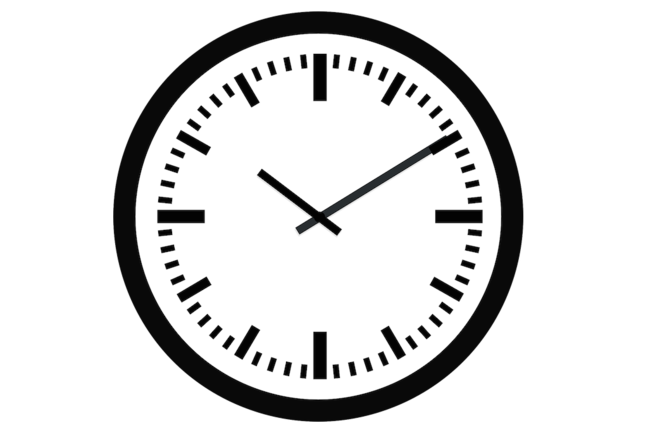 A clock showing hours and minutes