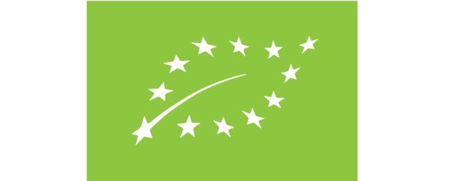 A rectangle logo that is filled bright green. A leaf logo is on top outlined by little white stars